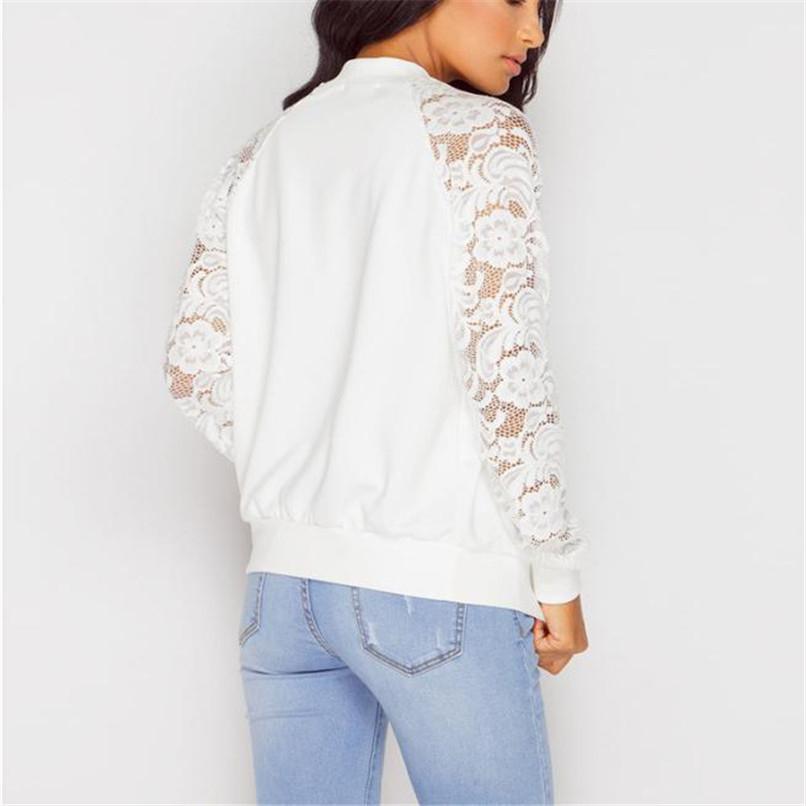 Lace Sleeve Women Basic Coats Long Sleeve Lace Patchwork Transparent Zipper Casual Slim Jacket Coat Bomber Jacket Outwear 40OC311