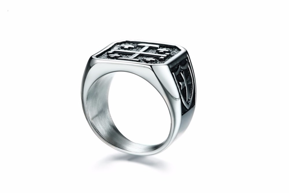 Jerusalem Cross Medieval Signet Ring for Men Solid Stainless Steel Vintage Jewelry Anel Aneis Masculinos Anillos 16