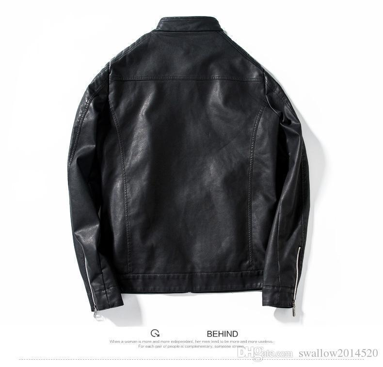 Pop Arrived Winter Autumn Fashion Mens Designer Brand Black Red Blue Leather Jacket Slim Fit Jackets For Mens Motorcycle Clothes