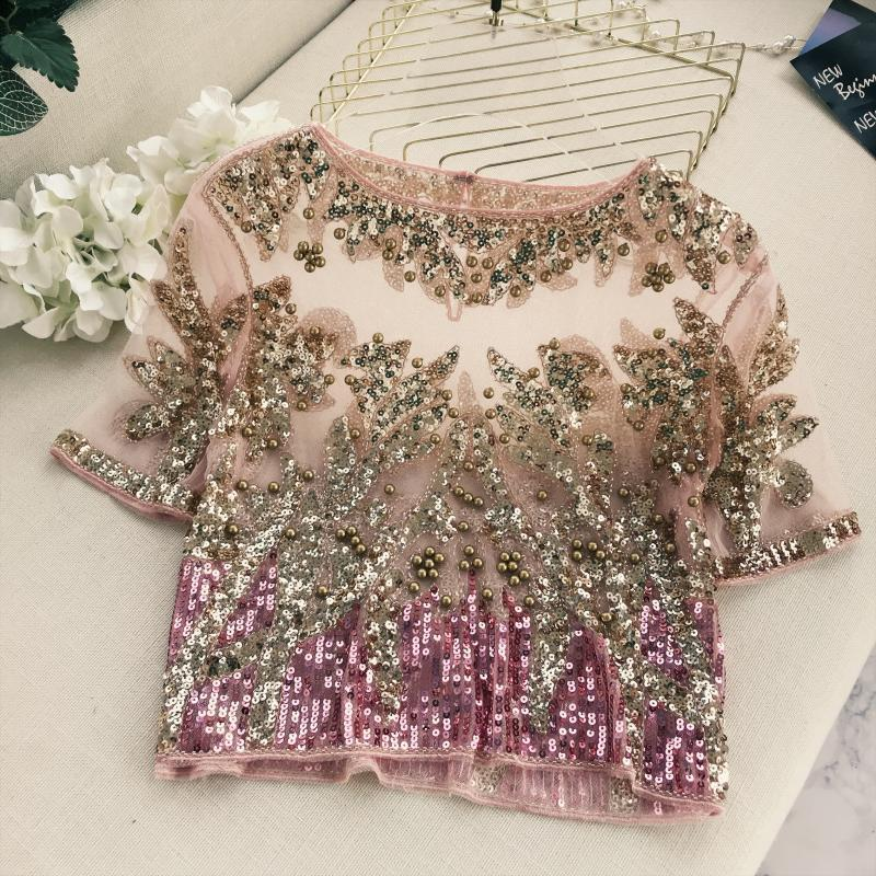 2018 Runway Star T Shirt Femmes Tempérament Brodé Perle Blingbling Lumineux Manches Courtes Perspective T-shirt Dames Tees Tops C19041801