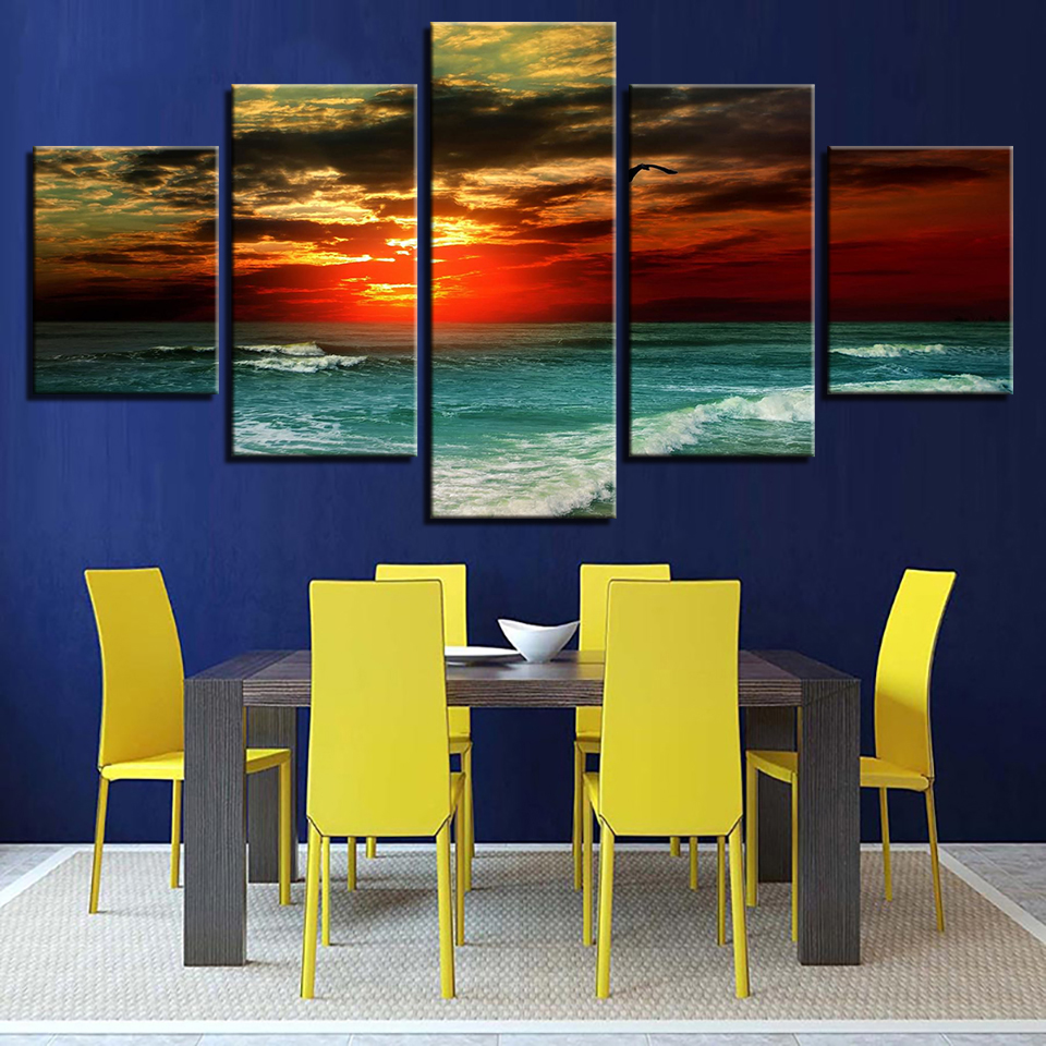 Modern Canvas Sunset Sea Waves Scenery Pictures HD Printed Wall Art Frame Living Room Home Decoration Painting Poster