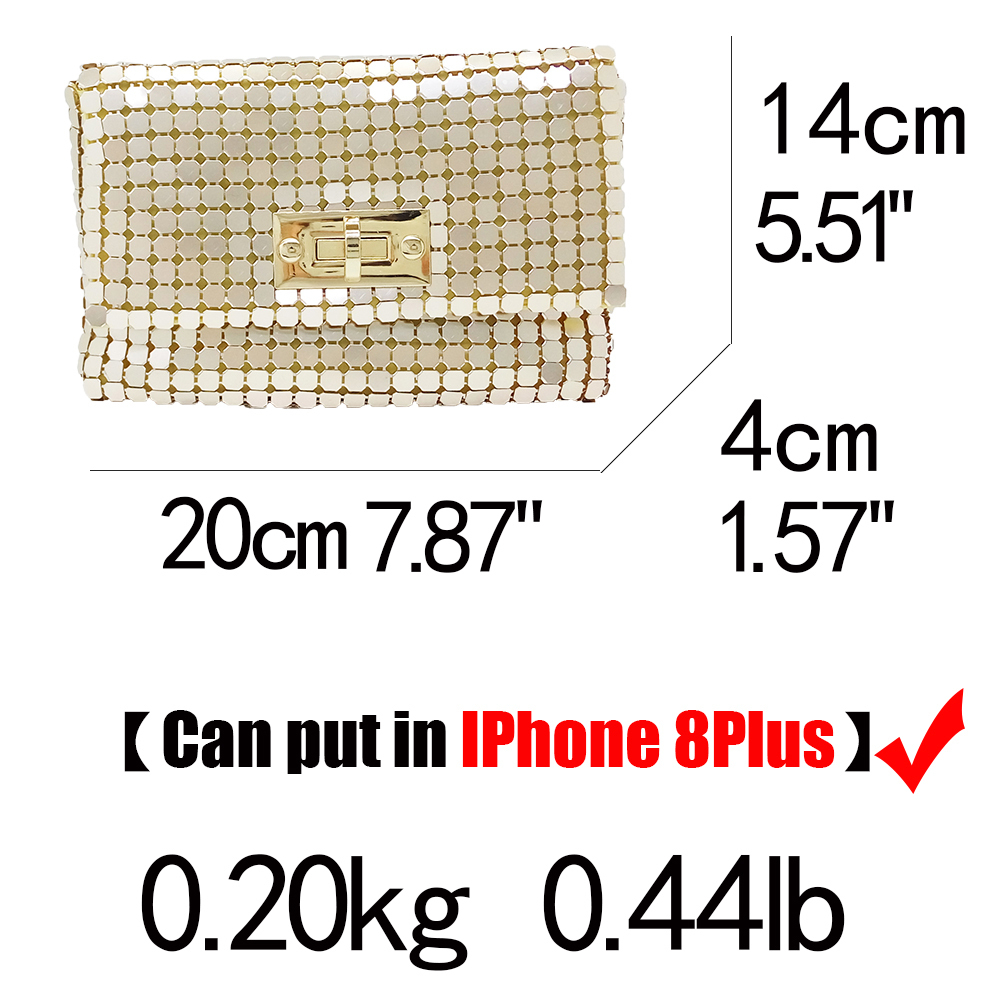Boutique De Fgg Gold Aluminum Women Small Envelope Clutch Chain Shoulder Bags Ladies Fashion Evening Crossbody Handbag And Purse Y19061301