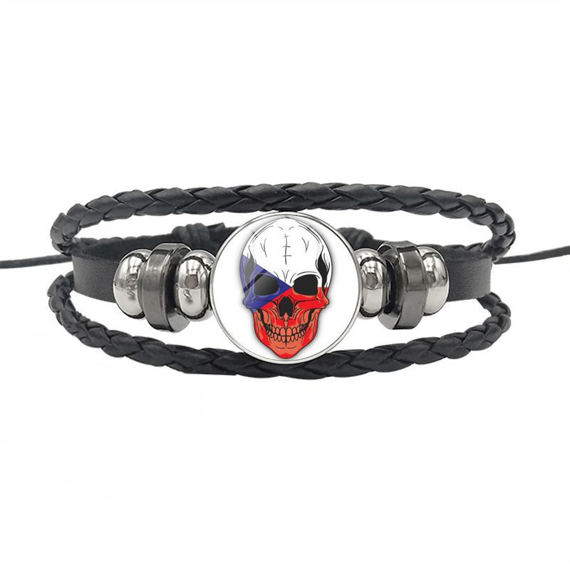 DOME-SPACE Adjustable Silver Bracelets The Czech Republic National Flag Hand Chain Link Bracelet Clear Bangle Custom Glass Cabochon Charm