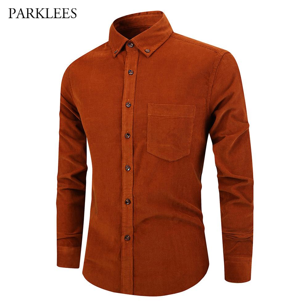 LD Mens Vintage Corduroy Shirt Long Sleeve Button Down Dress Shirts Purple M