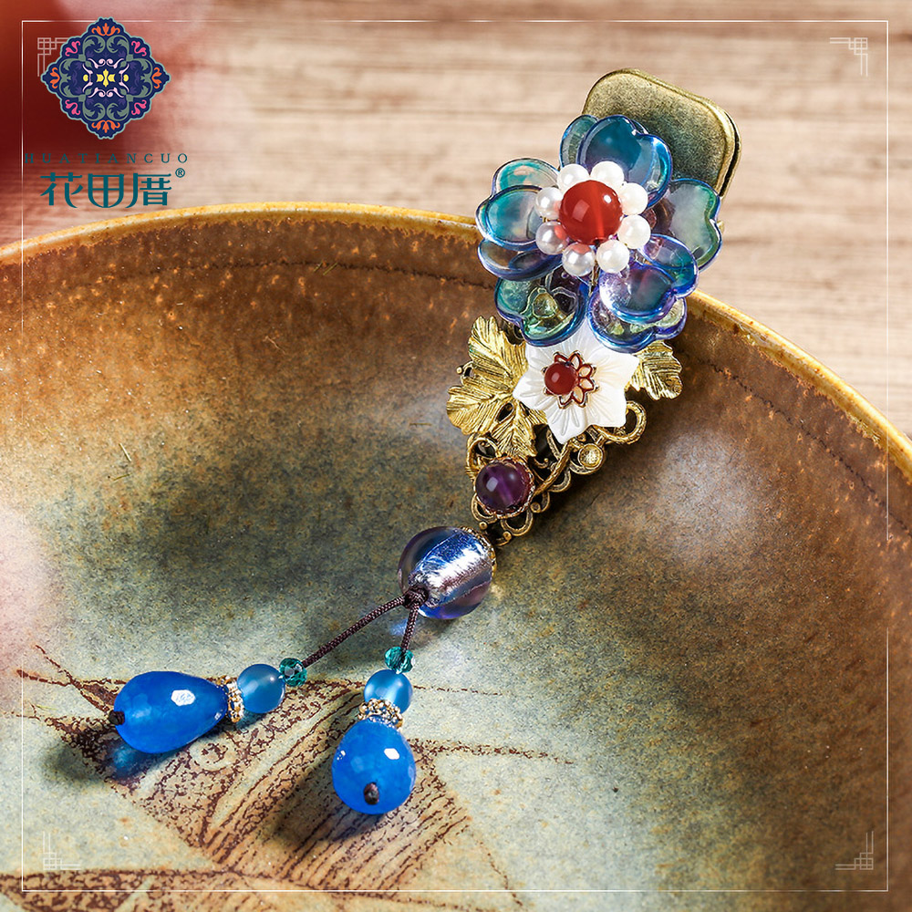 Ethnic Lampwork Flower with Pearl Circle Hair Pin for Women Dangle Shell Flower Drop Golden Vine Leaf HairPin HeadPiece FJ-18117