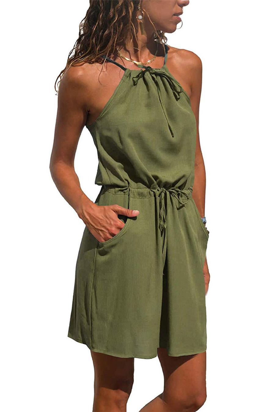 Gladiolus Chiffon Women Summer Dress Spaghetti Strap Floral Print Pocket Sexy Bohemian Beach Dress 2019 Short Ladies Dresses (48)