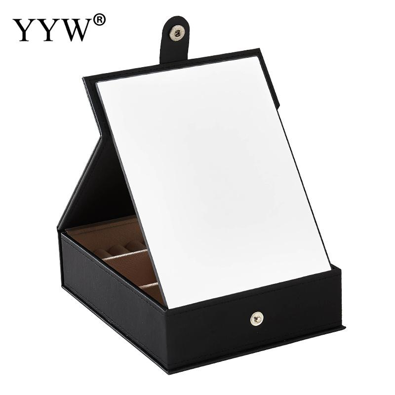 Multifunctional Makeup Mirror Jewelry Packaging Box Package Desk Cosmetic Case PU Leather Organizer Container Black Pink Display