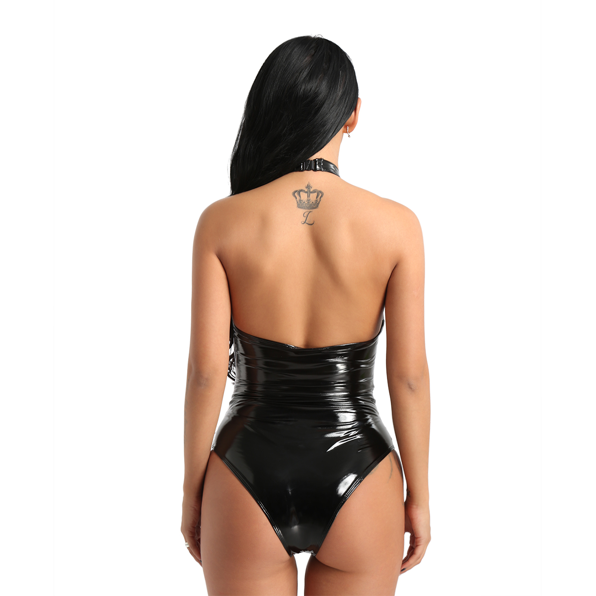 TiaoBug Women One-piece Wetlook Faux Leather Mesh Patchwork Sexy Bodysuit Lady Halter High Cut Nightclub Party Teddies Jumpsuit