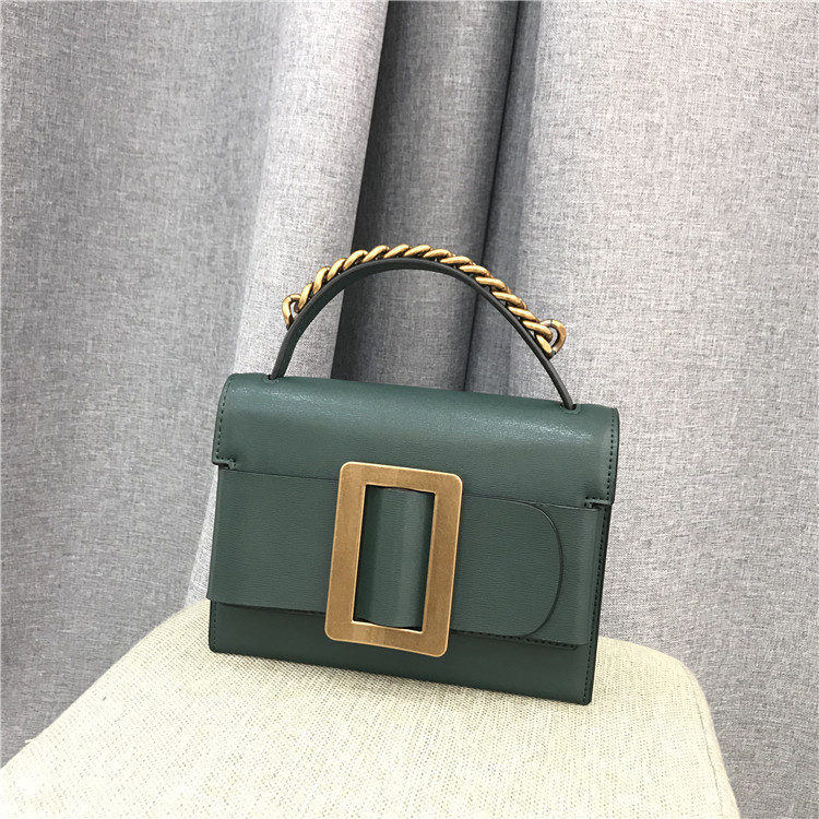 Elegant2019 Grain Rub Hand Genuine Leather Square Package Generous Buckle Single Shoulder Span Portable Concise Ma'am Small Bag