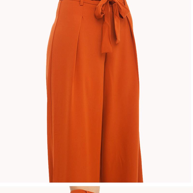 Mulheres Laranja Perna Larga Chiffon Calças De Cintura Alta Tie Front Calças Palazzo Ol Calças Elegantes Calças Compridas Culottes