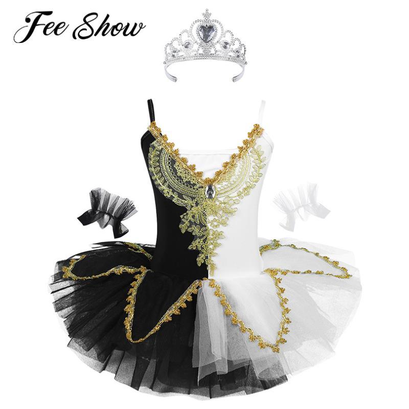 Falda Disfraz Bailarina Ropa de Fiesta Actuaci/ón inlzdz Conjunto de Danza L/írica Vestido de Ballet para Ni/ña Traje de Baile Moderna Patinaje Artistico Crop Top
