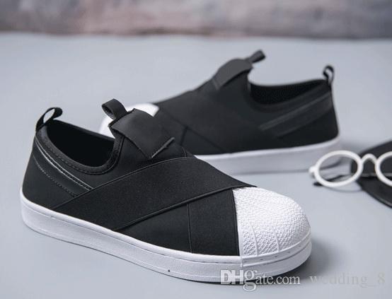 Frete grátis preço de fábrica verão y3 das mulheres dos homens shell dedo do pé preto branco baixo sapatos respirável superstar slip on cruzado cinta sapatos casuais