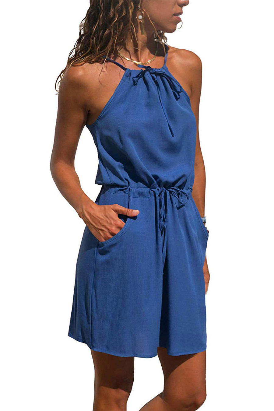 Gladiolus Chiffon Women Summer Dress Spaghetti Strap Floral Print Pocket Sexy Bohemian Beach Dress 2019 Short Ladies Dresses (45)