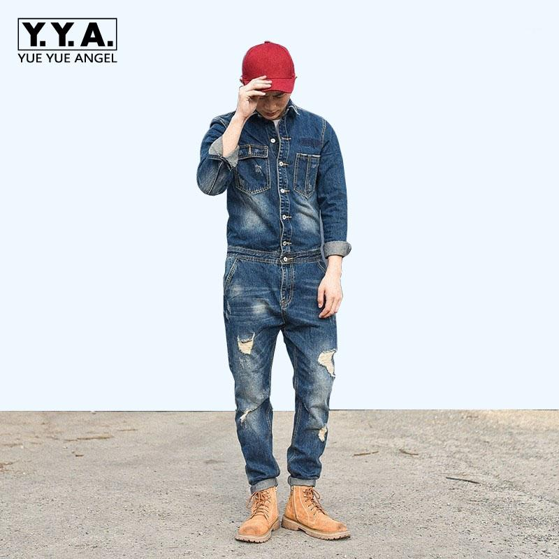 2018 Fashion Women Jeans Jumpsuits Single-breasted Ripped Denim Clubwear Casual