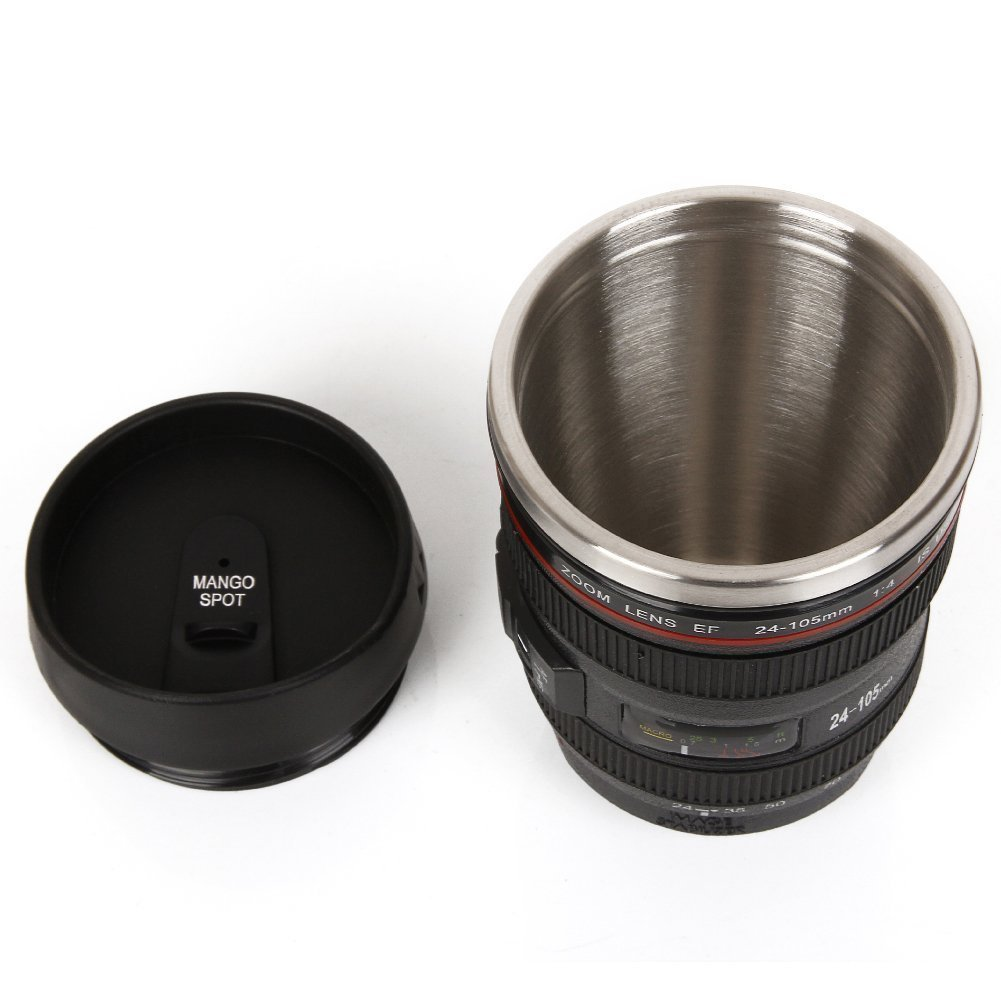 400ml Camera Lens Style Thermos Stainless Steel Cup Mug For Coffee Tea Creative Cups And Mugs Gift Travel Mug Vacuum Flasks C19041302