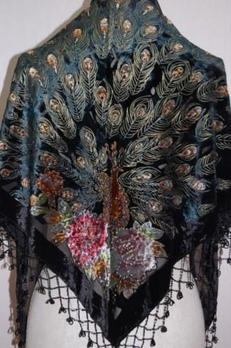 Black 100% Silk Velvet Scarf Shawl Chinese National Women Triangle Pashmina Handmade Beaded Peacock Cape Mujeres Bufanda