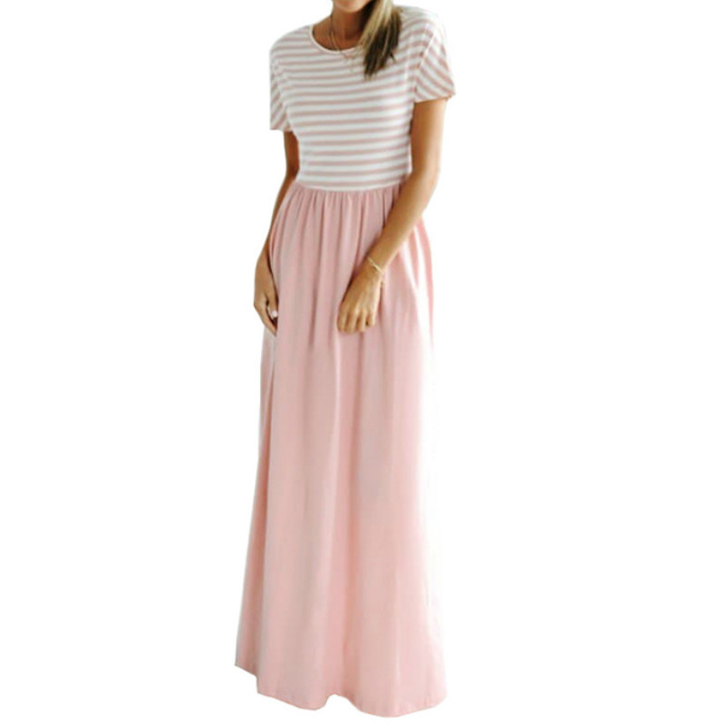 Women Long Dress Boho Summer Striped Maxi Dress Short Sleeve O-neck Plus Size Female Casual Dress Party Beach Pocket Sundress Y19053001