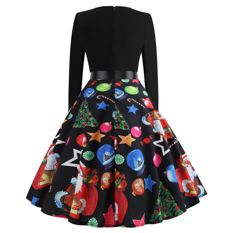 Women Winter Clothing 50s 60s Vintage Christmas Dress Santa Claus Star Snow Ball Print Dress Party Long Sleeve Midi Dresses designer clothes
