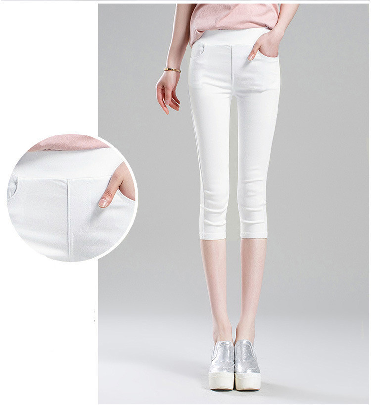 2019 kadın Yaz Siyah Tayt Pantolon Ince Ince Streç Pantolon Beyaz Rahat Kapriler Kalem Pantolon Artı Boyutu 4xl 5xl 6xl MX190716