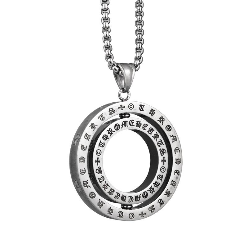Metal Color: Steel, Length: 60cm Davitu AMGJ Stainless Steel Necklace Pendant Buddhist Terminology Sanskrit Namas Amitabha Hollow Tag Necklace