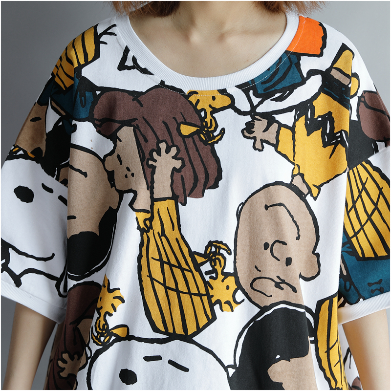 Kawaii Tshirts Cotton Women Tshirt 2019 Summer Fashion Print Plus Size Cartoon T Shirt Korean Printed Shirts Top 4xl 5xl 6xl Y19042501