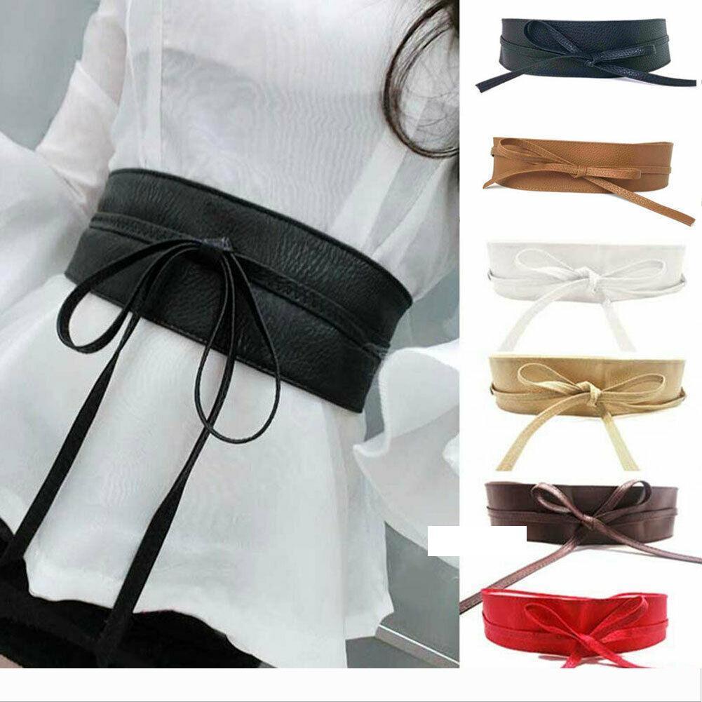 NUOVO elegante Donna Elastico Wide STRETCH Fibbia Bowknot Fiocco Cintura Cintura in vita
