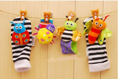 2018 yeni Bebek çorap Çıngırak Çorap sozzy Bilek çıngırak ayak bulucu Bebek oyuncakları Lamaze Bilek Çıngırak + Ayak