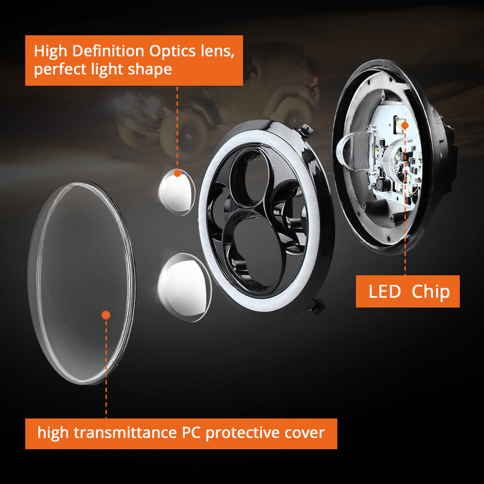 wholesale DRL 7inch Round Led Headlight High Low Beam Light Halo Angle Eyes Headlamp 30W For Jeep Wrangler Off Road 4x4 Motorcycle