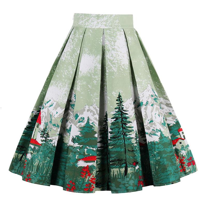Kostlish Retro Print Flower Summer Skirts Womens High Waist Vintage Skirt Elegant A-Line Midi Women Skirt Plus Size XXL (11)