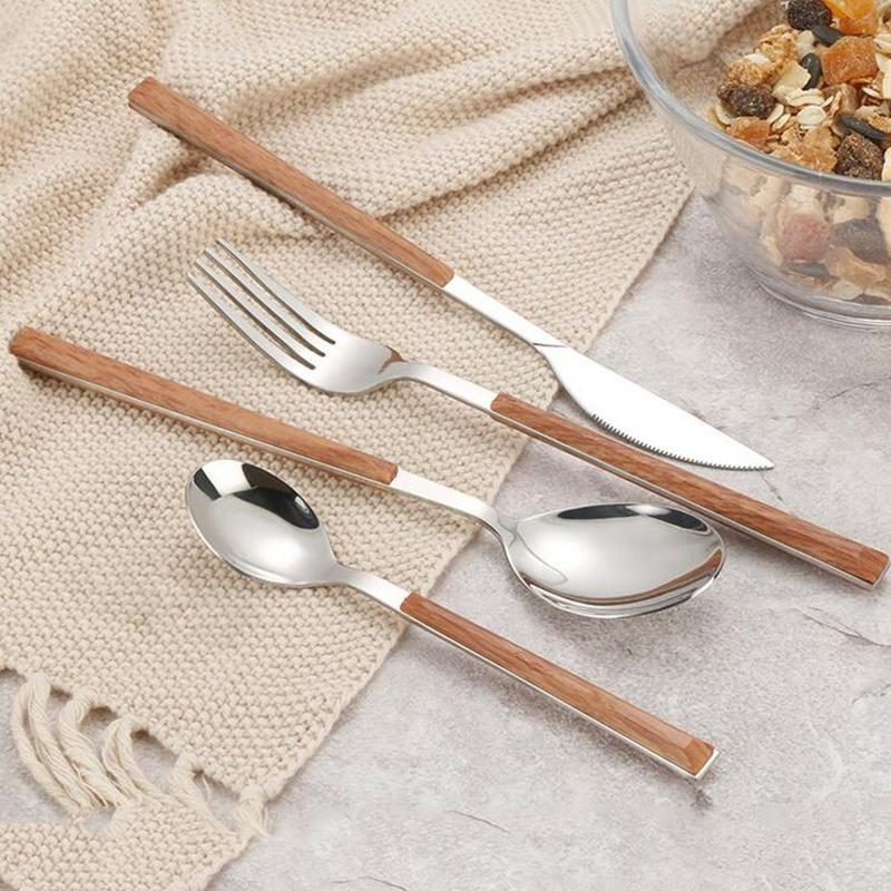 24Pcs-304-Stainless-Steel-Tableware-Set-Glossy-Wood-Silver-Dinnerware-Sets-Western-Food-Knife-fork-Teaspoon (4)