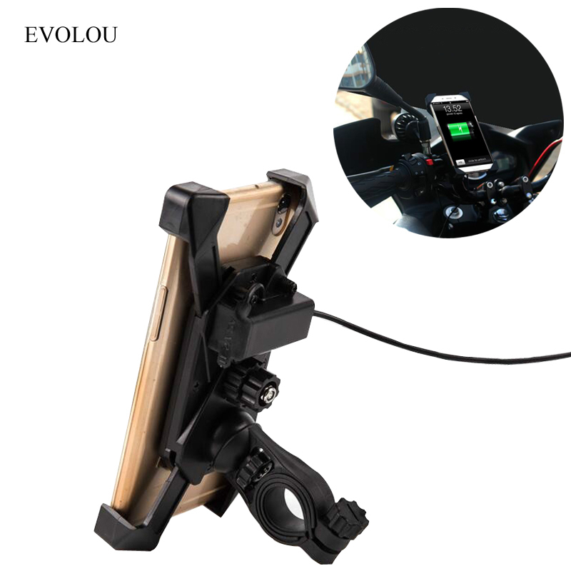 Universal Motorcycle Phone Holder Mobile Stand For Moto Support USB Charger Holder for iphone X 8 7 Plus S8 S9 S7 Bike Support