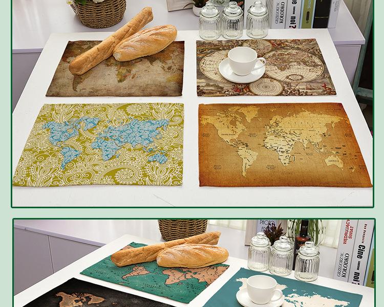 Acheter 42 32cm Mode Carte Du Monde Imprime Serviettes De Table