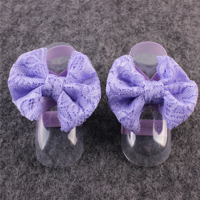 1Pair Fashion Baby Sandals Summer Beautiful Lace Barefoot Toddler Baby Foot Flower Anklet Baby Girl Sandals M8Y29#F (6)