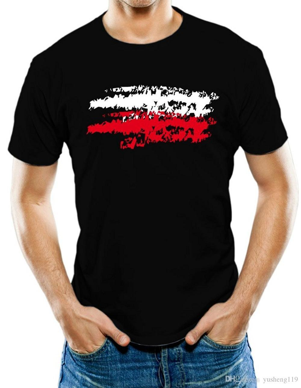 Kişiselleştirilmiş Tişörtlerin erkek O-Boyun erkek Polonya Polonya Bayrağı T-Shirt Kısa Kollu Moda 2018 Tee Gömlek
