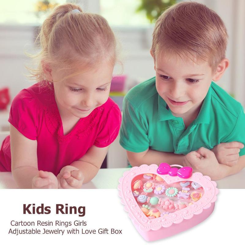 20pcs Trendy Children Rings Toy Kids Sweet Adjustable Cartoon Crystal Scrub Rings Pretend Play Fashion Jewelry For Cute Girls
