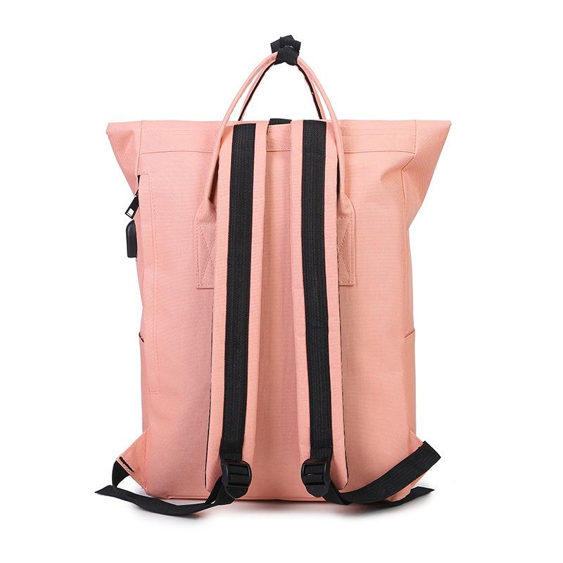 Fashion Women Girls Backpack Usb Charging Nylon Travel Backpacks Pink School Bags For Teenagers Girl Mochila Feminina Satchel Y19061102