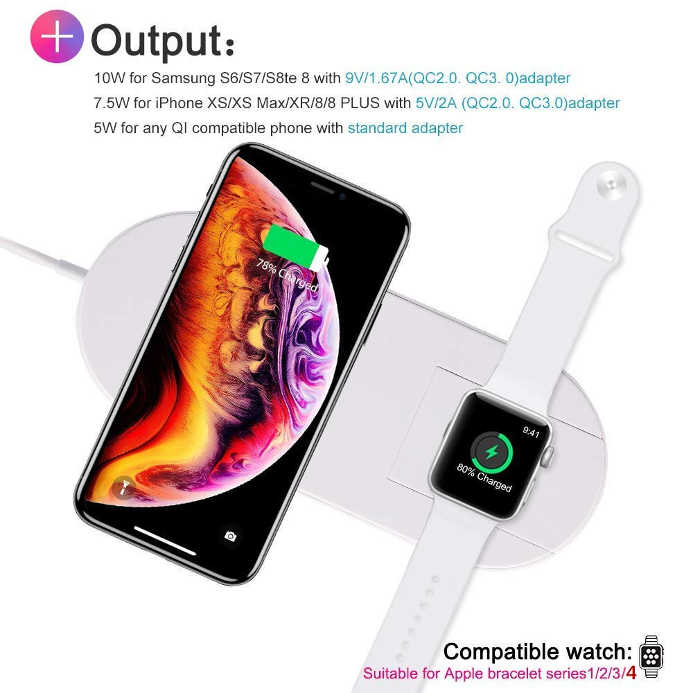 Wireless Charger for Apple Watch, Magnetic Wireless Charger 2 in 1 Charging Pad Stand Compatible for with for iPhone