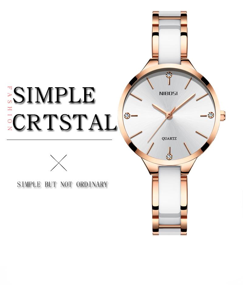 Relojes Para Mujer NIBOSI Women Watches Bracelet Watch Ladies Wrist Watch Women Waterproof Fashion Casual Crystal Dial Rose Gold (1)