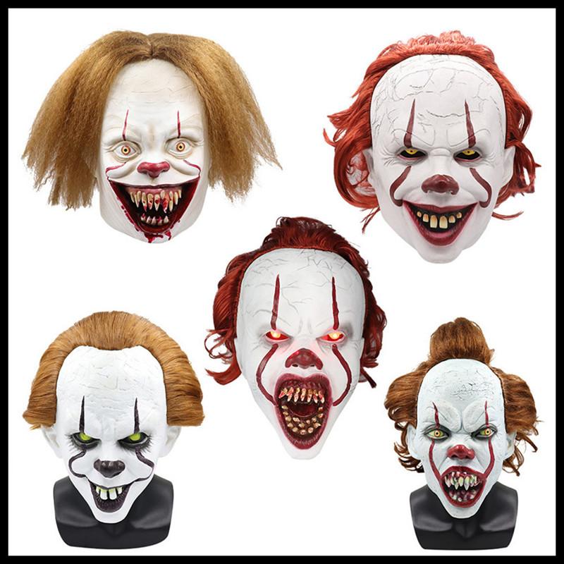 Gruselige rote Haare Clown Latex Maske Horror Halloween Urlaub Joker Streich