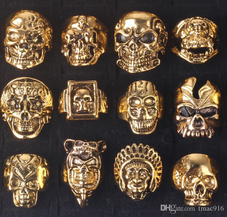 OverSize Gothic Skull Carved Biker Mixed Styles Men's Anti-Silver Rings Retro New Jewelry