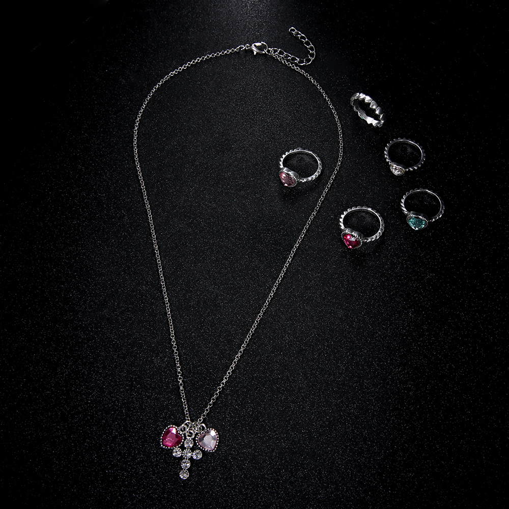 Kalp Çapraz Tasarım 6 adet / takım Kolye Yüzük Kadınlar Için Set 2019 Brinco Kadın El Yapımı Midi Parmak Bildirimi Gerdanlık Collier Takı