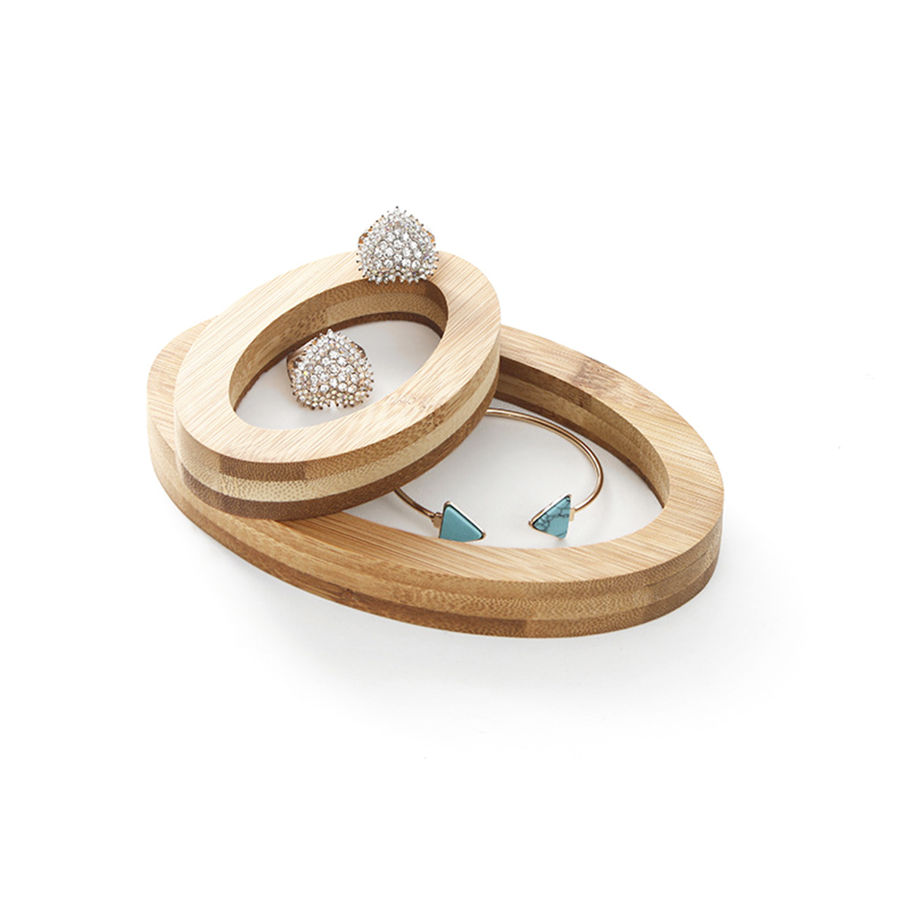 Oval Bamboo Jewelry Display Stand Jewelry Holder Showcase Organizer Ring Bracelet Necklace Display For Window Display