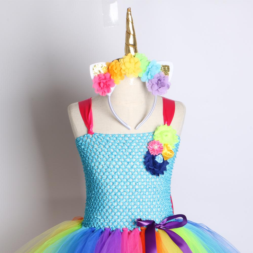 Rainbow Unicorn Girls Tutu Dress Tulle Flower Baby Girl Birthday Party Dress Children Kids Halloween Pony Unicorn Costume 2-12y J190612