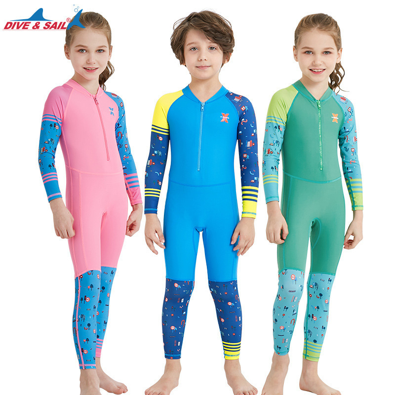 DIVESAIL One-piece swimsuits lycra Children Quick-dry Swimwear Suit for Boys Girls Kids Long Sleeve Anti-UV Beachwear