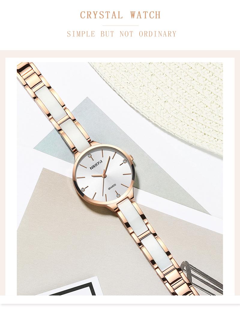Relojes Para Mujer NIBOSI Women Watches Bracelet Watch Ladies Wrist Watch Women Waterproof Fashion Casual Crystal Dial Rose Gold (4)