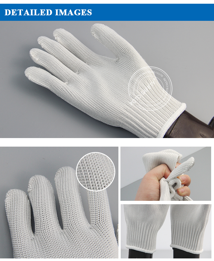 White Anti-cut Gloves Safety Cut Proof Stab Resistant Stainless Steel Wire Metal Mesh For Kitchen Butcher Cut-Resistant