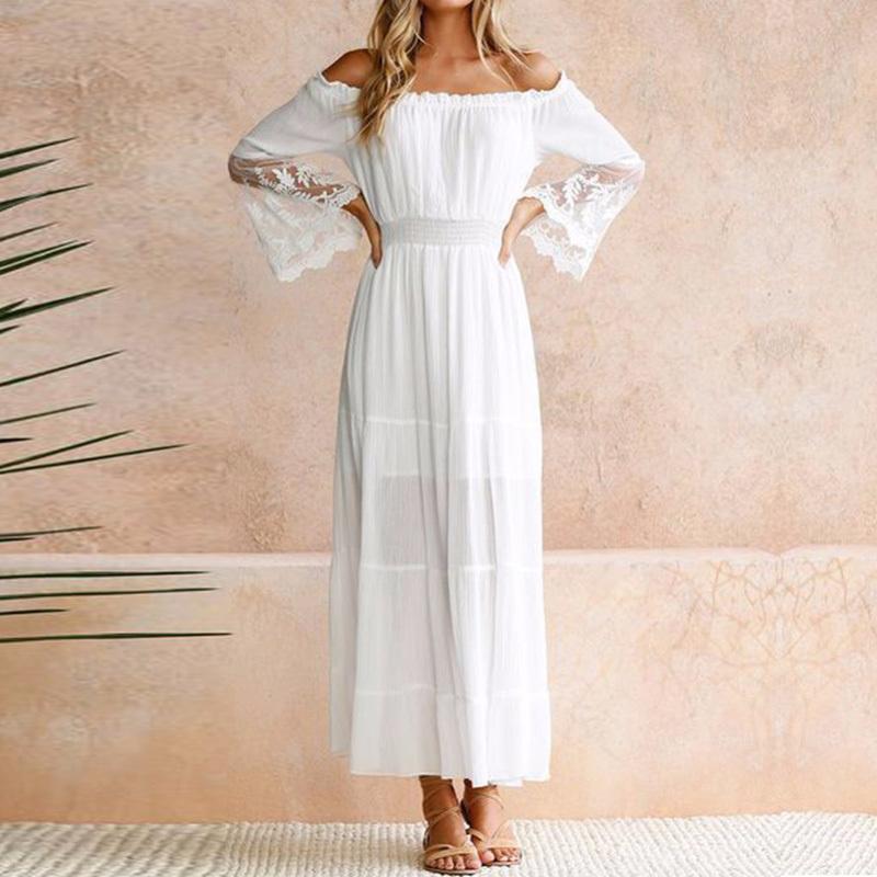 Moonbiffy Robe d'été d'été longues femmes robe de plage blanche sans manches à manches longues lâche Sexy Off épaule dentelle Boho coton Maxi Dress Q190409