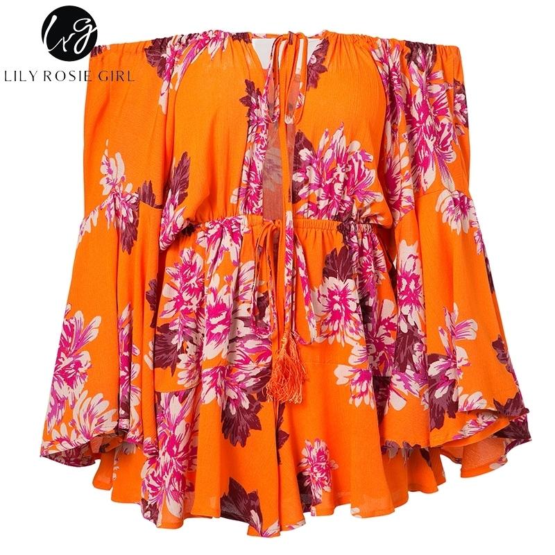 Lily Rosie Girl Off Shoulder Flare Sleeve Summer Playsuit Print Floral Boho Beach Playsuit Women Orange Short Jumpsuit Rompers Q190328