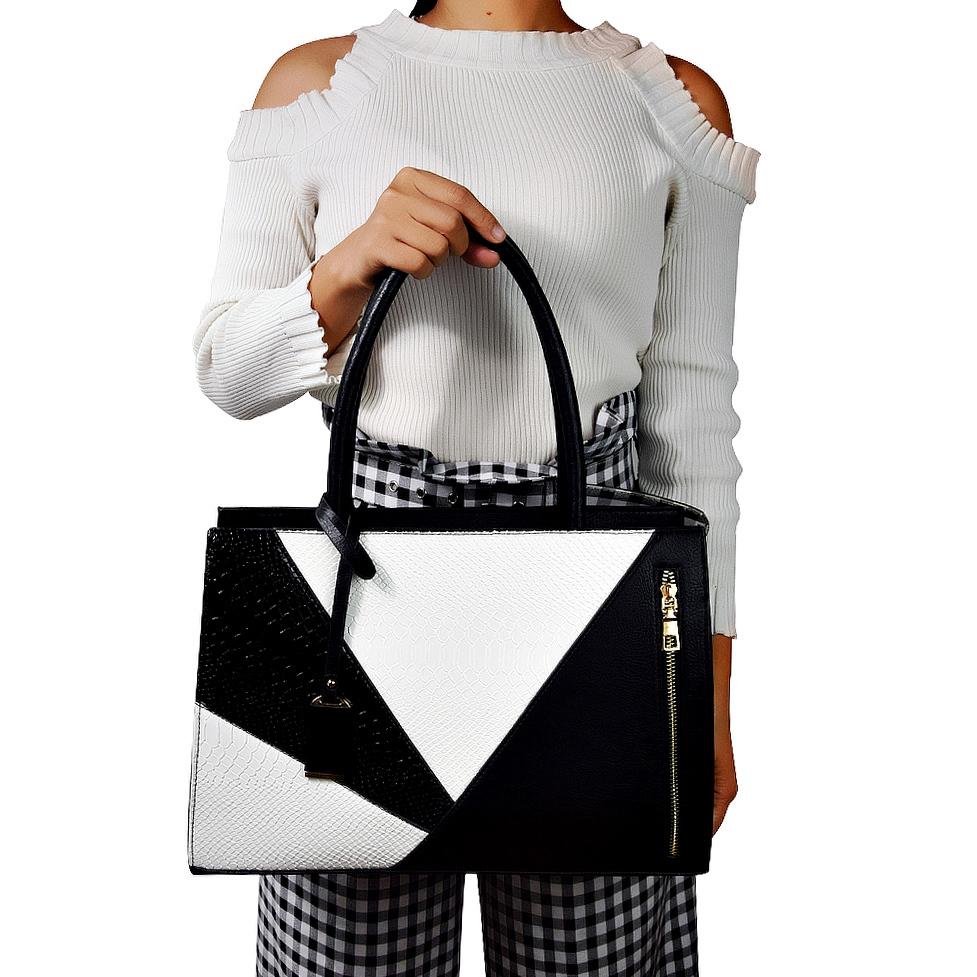 Bolso de cuero femenino de lujo Serpentina Pu bolso sobre el hombro diseñador de la marca grande A4 maletín bolso de mano para la oficina damas J190426