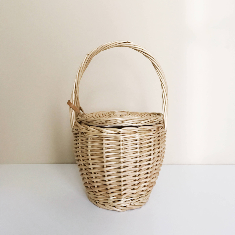 Fashion 2018 Summer New Women Beach Basket Straw Hand Bag Cover Handbag Wicker Handmade Small Woven Bohemia Tote Travel Clutch Y19061204